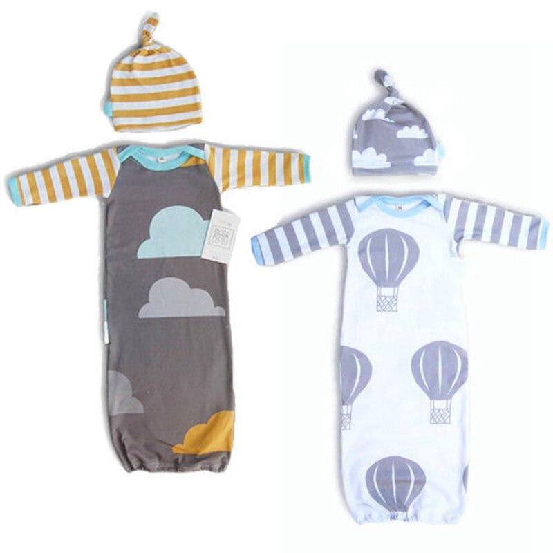 Baby Cotton Soft For Newborns Baby Blanket Swaddle Sleeping Bag 100% Cotton Soft Swaddle Wrap Blanket Sleeping Bag Hat