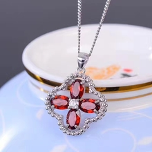 natural red garnet gem pendant S925 silver Natural gemstone  Lucky Clover  Pendant Necklace trendy girl party gift jewelry