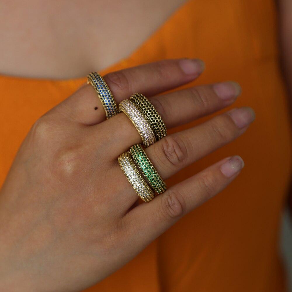 2018 Decalite Cz Luxus Dainty Ring Gold Farbe Frauen Mode Stil Knuckle Ring Midi-finger-ring Voll Cz Rosa Grün Femme Schmuck Strukturelle Behinderungen