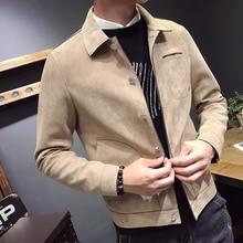 Casual Lapel Buckskin Cloth Long Sleeve Slim Men Jacket 2018 Autumn Self-cultivation Comfort Custom Fit Loose Male Coat M-3XL