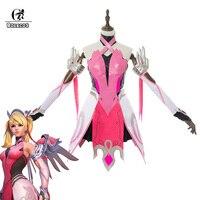 ROLECOS Game Over Watch косплэй костюм ангела Циглер розовый милосердие для женщин обувь девочек милосердие платье