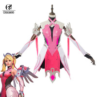ROLECOS Game Over Watch Cosplay Costume Angela Ziegler Cosplay Pink Mercy Costume for Women Girls Mercy Dress