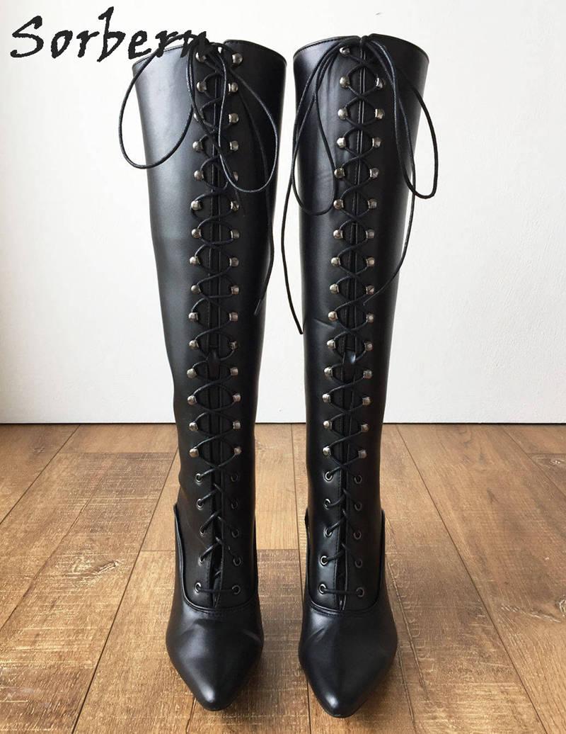 Sorbern 12 เซนติเมตร Stiletto Heel Lace Up Custom Shalf กว้างลูกวัวขนาดรองเท้าผู้หญิง Hard เพลาเข่า Hi Pointed Toe สไตล์วินเทจเครื่องราง-ใน รองเท้าบู๊ทสูงระดับเข่า จาก รองเท้า บน   3