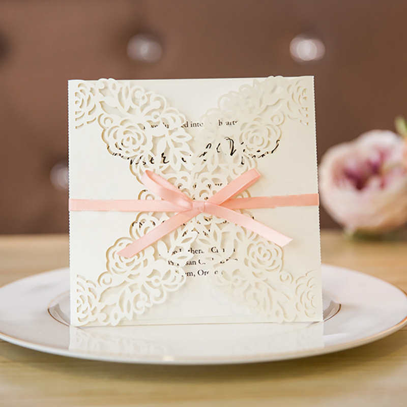 10 Set Design Flower Rose Pattern Invitations For Wedding customize White Paper Laser Cut Invitation Cards Pink Ribbons