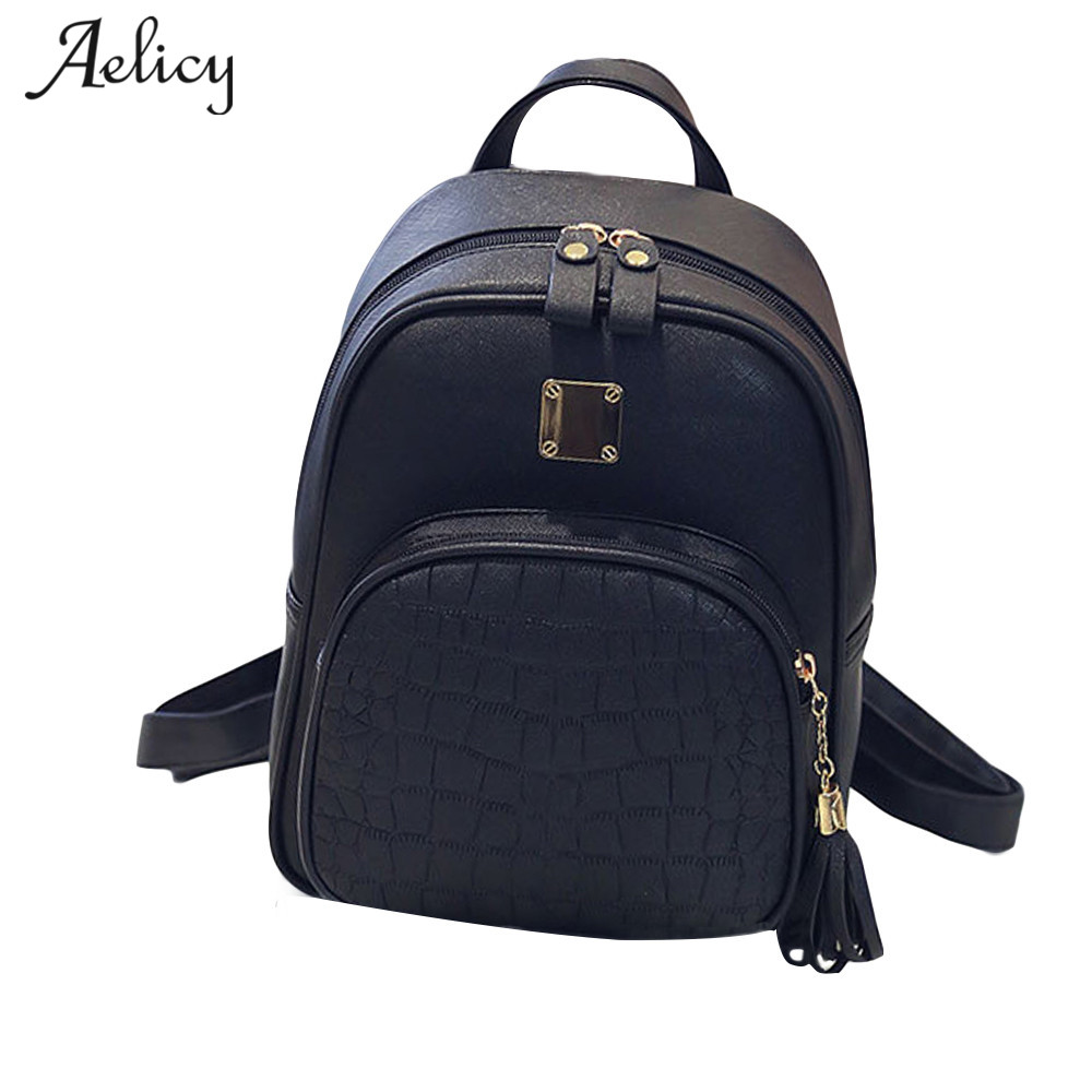 Aelicy Fashion Women Backpacks Women's Pu Leather Backpacks Girl School Bag High Quality Ladies Bags Designer Bolsas Femme D35
