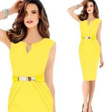 2018 желтое платье Для женщин элегантные офисные миди платья черный, красный синий плюс Размеры XXXL Футляр Обёрточная бумага леди формальные Летний Лидер продаж
