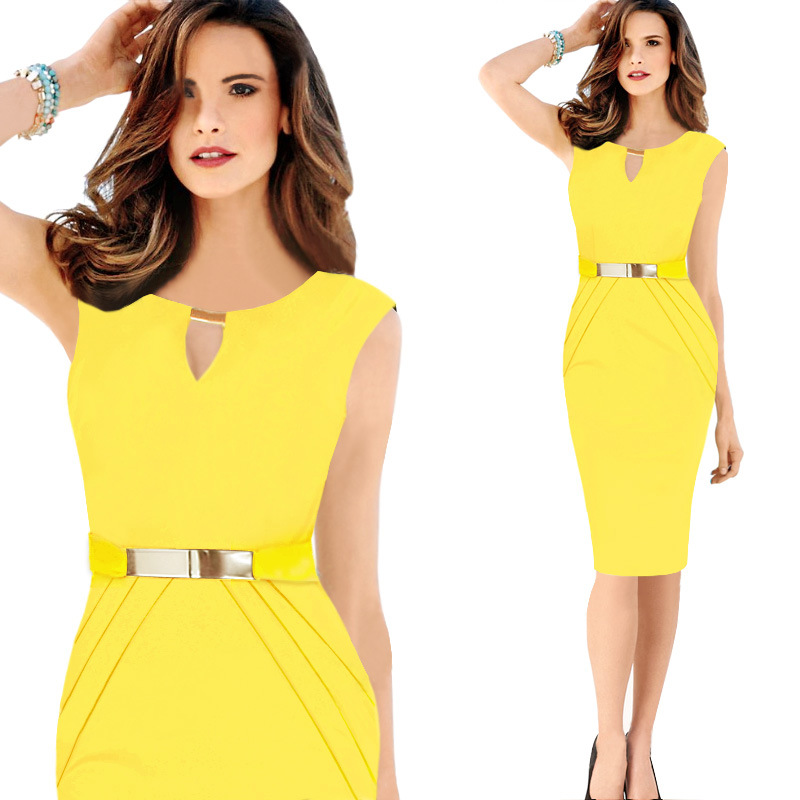 2018 Yellow Dress Women Elegant Office Midi Dresses Black