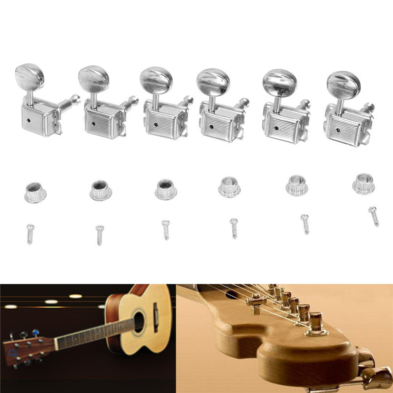Zebra 6Pcs Split Shaft Vintage Guitar Tuning Key Tuners Right Handed Guitar Machine Heads For Musical Stringed Guitar Bass Parts gold abalone metal bell guitar bass knob for 6mm split shaft 3pcs