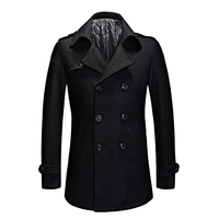 Fashion Pea Coat Men 2018 Autumn Winter Double Breasted Casual Long Woolen Coats Mens Overcoat Male Peacoat