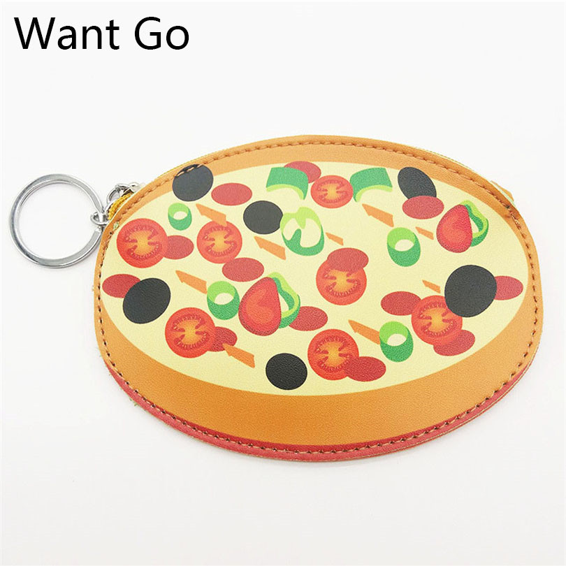 Want Go 3D Cartoon Pizza Small Women Coin Purse Cute Kids Coin BagFemale Kawaii Mini Leather Wallet Purses Student Key Rings Bag