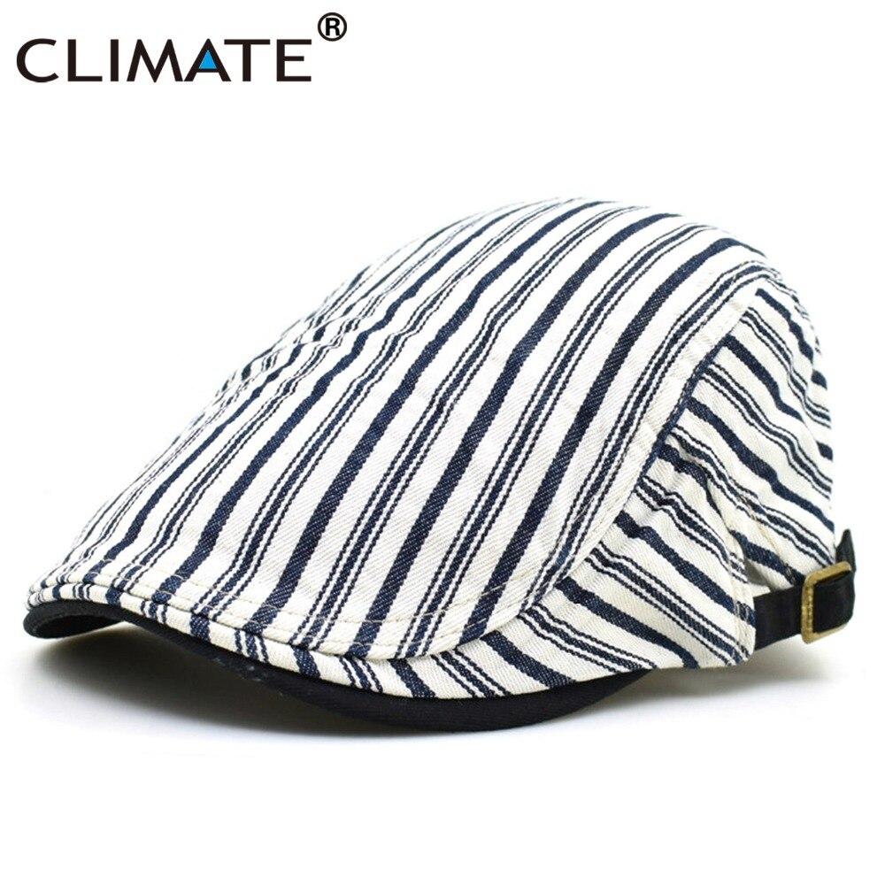 CLIMAT Femmes Hommes Plat Béret Chapeau Occasionnel Réglable Artiste Peintre bande Coton Blanc Denim Gentleman Casquette Plate Chapeau pour Adulte hommes