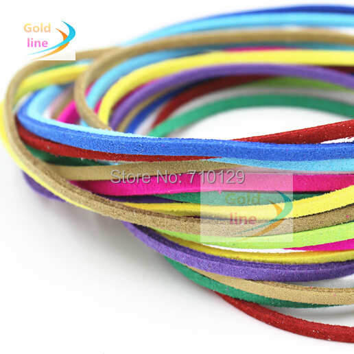 Free shipping Mix Color 20 meters  3mm DIY Multi-colors Korean Suede Cord Bracelet making  Jewelry findings