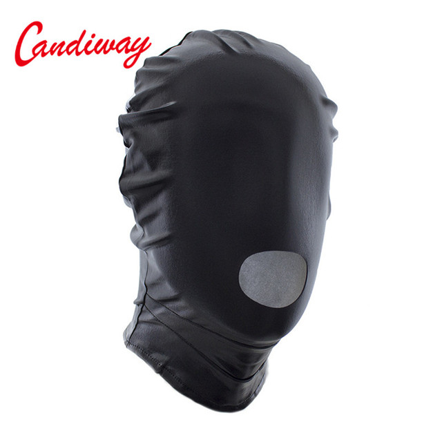 Sexy PU Leather Latex Hood Mask Open Mouth Headpiece Fetish Seduce Erotic BDSM Women Men Adult Game Party Play