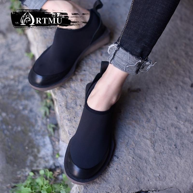 Artmu Fashion Women Shoes Round Toe Shoes Handmade Genuine Leather Shoes Mesh Woman Flats Fashion Sneakers