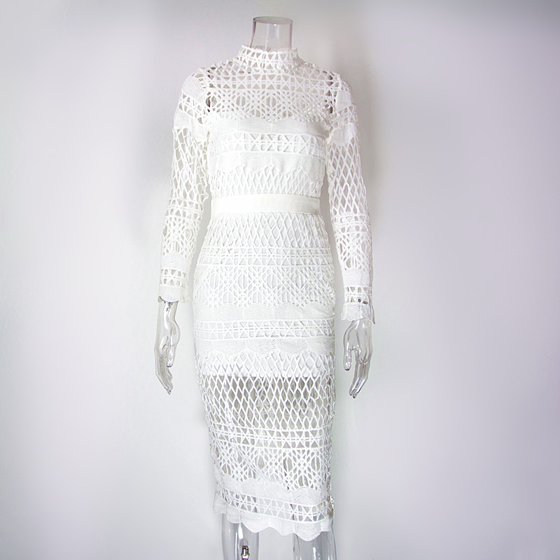 Colysmo White Lace Midi Dress High Neck Long Sleeve Crochet Bodycon Dresses  New Woman Party Dress Vestidos 8e682b169f50