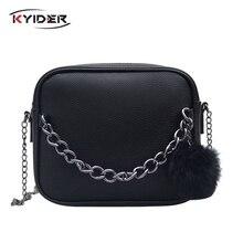 KYIDER Women Messenger Bag Chains PU Leather Shoulder Vintage Small Mini Flap Fur Ball Decor Bolsas Crossbody Handbags