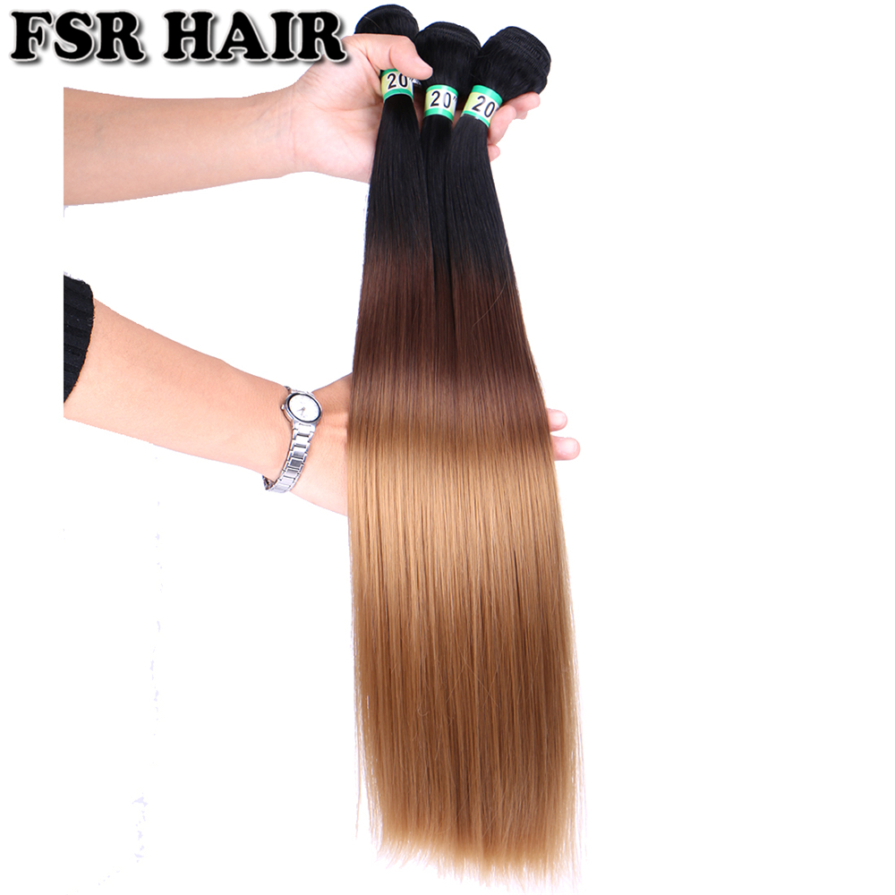 FSR T1B1/4/27 Straight hair weave 16-26 inches available synthetic hair extension three tone Ombre hair bundles