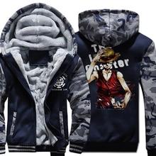 wool liner 2019 male tracksuit Camouflage color Hoodies coats one piece cartoon Hooded men fleece Thick Zipper Jacket sweatshirt