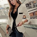 2016 new female dark button Slim small suit hit the color black and white knitted suit