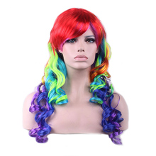 Women Love New Colorful Anime Wigs long Curly Wig Hair Cosplay Wig Role Playing Ball Party HB88