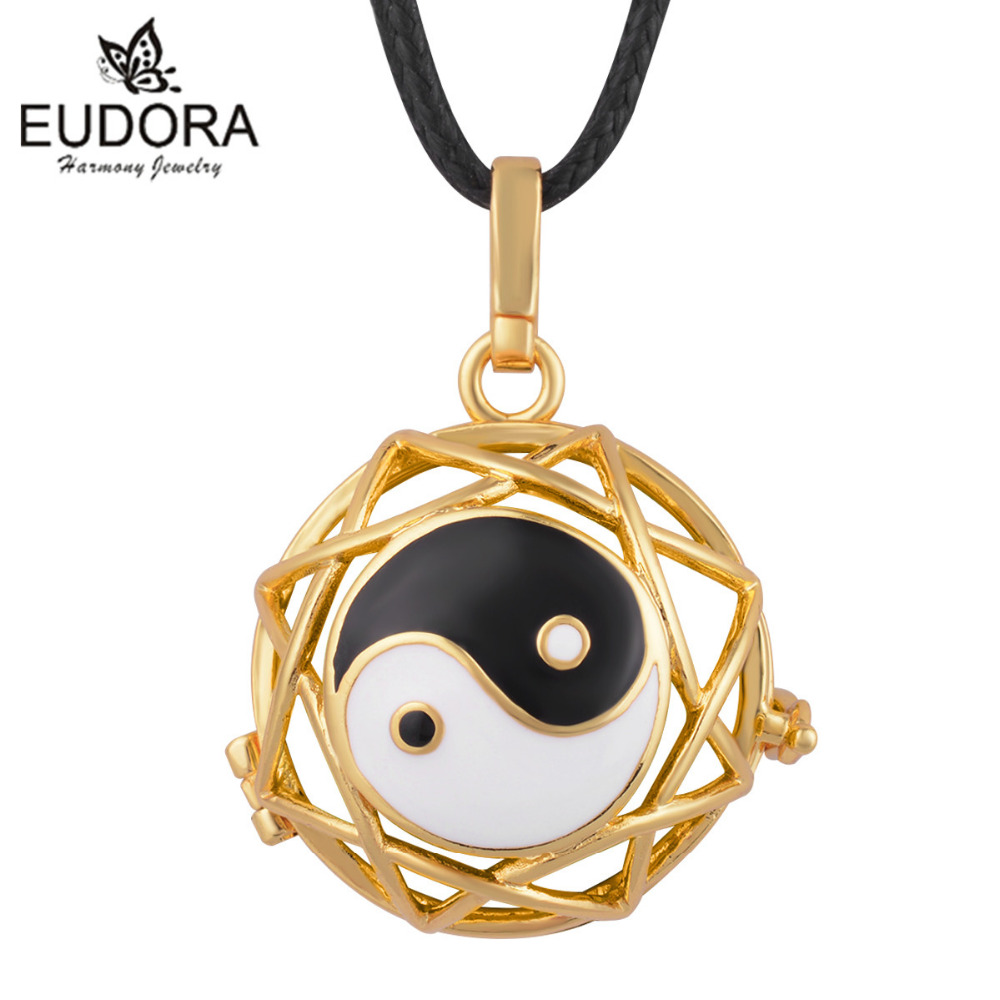 1PC Gold Color Yin&Yang Tachi Pendant Eudora Harmony Ball Engelsrufer Pingente Bijoux Schmuck Mexico Bola Necklace 20mm Cage