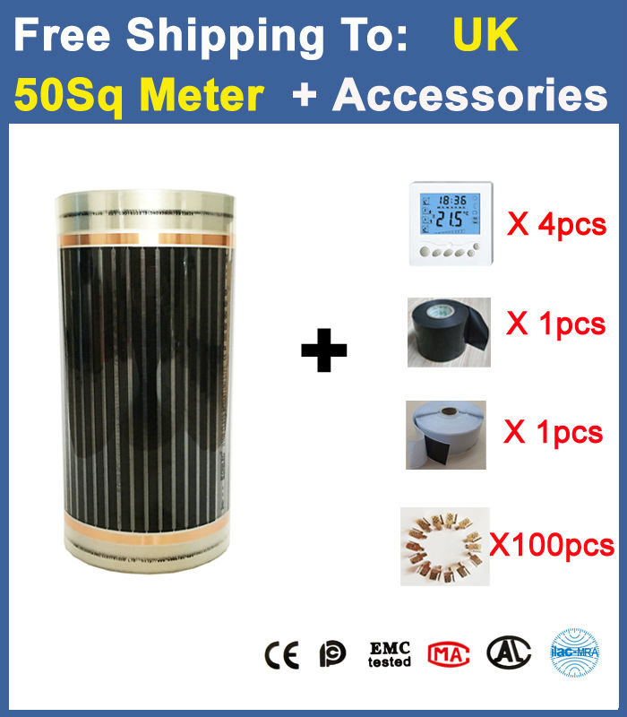 Соединенные Kindom DHL Бесплатная доставка 100 м * 0.5 м (50sq метр) 220 Вт подпольного пол нагрева Плёнки с Интимные аксессуары AC220V