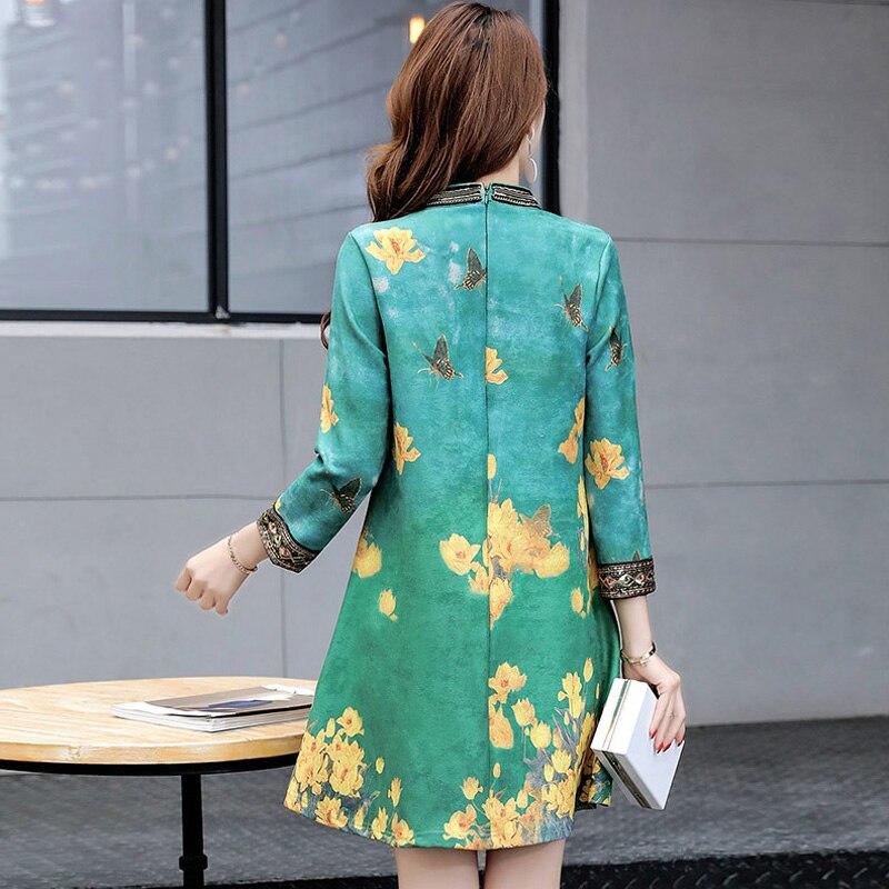 Xing 2019 Impression Rétro Peau Plus Mini Robes Femmes De Robe Se vert Taille Printemps A La Lâche Lj2207 Femme Stand Daim Automne ligne Col 1vrAxq1