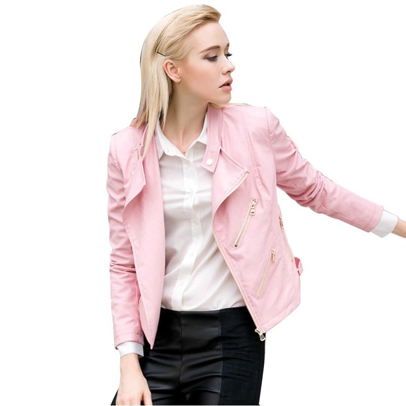 buy 2017 spring pink soft leather jacket. Black Bedroom Furniture Sets. Home Design Ideas