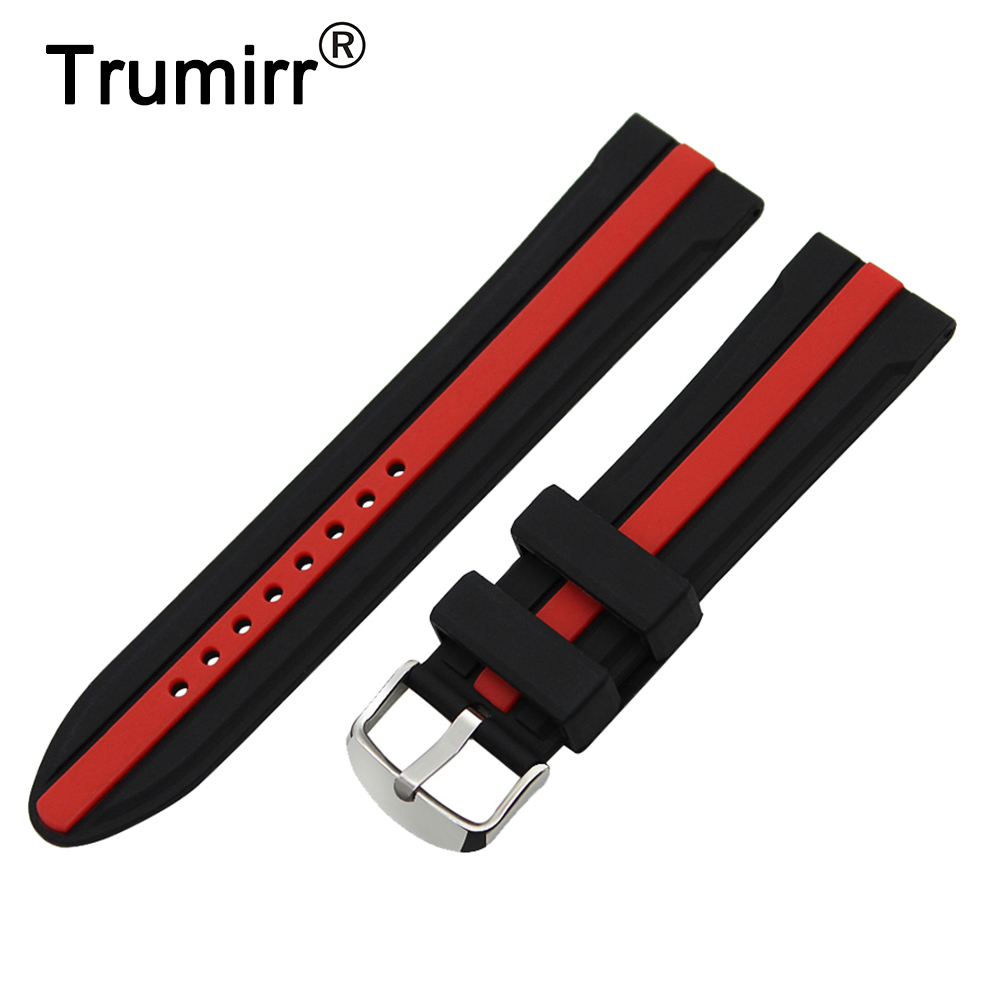 20mm Silicone Rubber Watch Band for Ticwatch 2 42mm Stainless Steel Tang Buckle Strap Wrist Belt Bracelet Black Red + Spring Bar