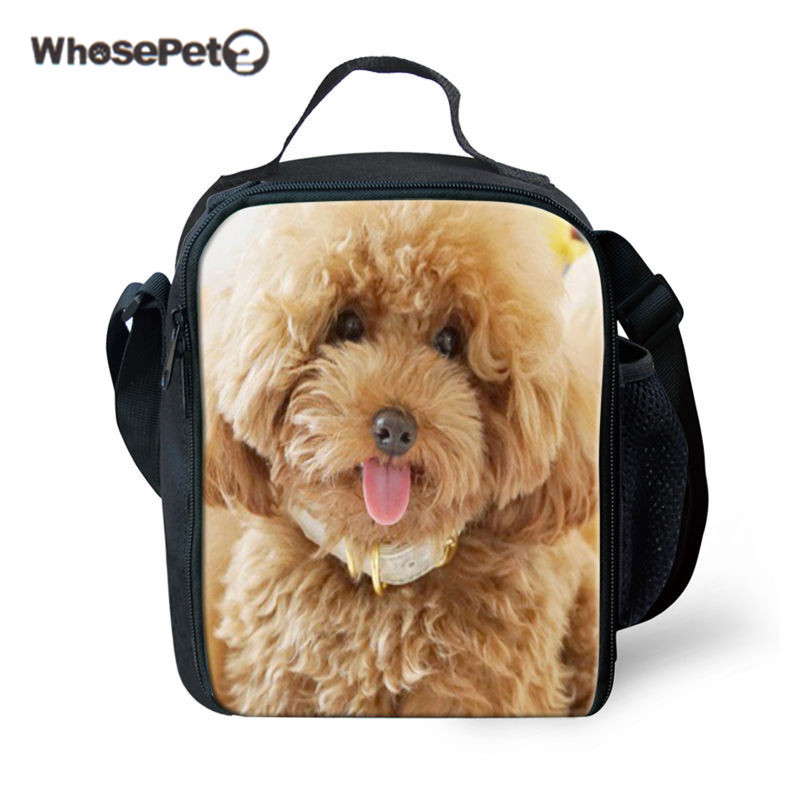 WHOSEPET Poodle Dog Print Lunch Bags 2017 Hot Bolsa Termica Cool Cartoon Kids Insulated Picnic Food Lunch Box School Food Bags