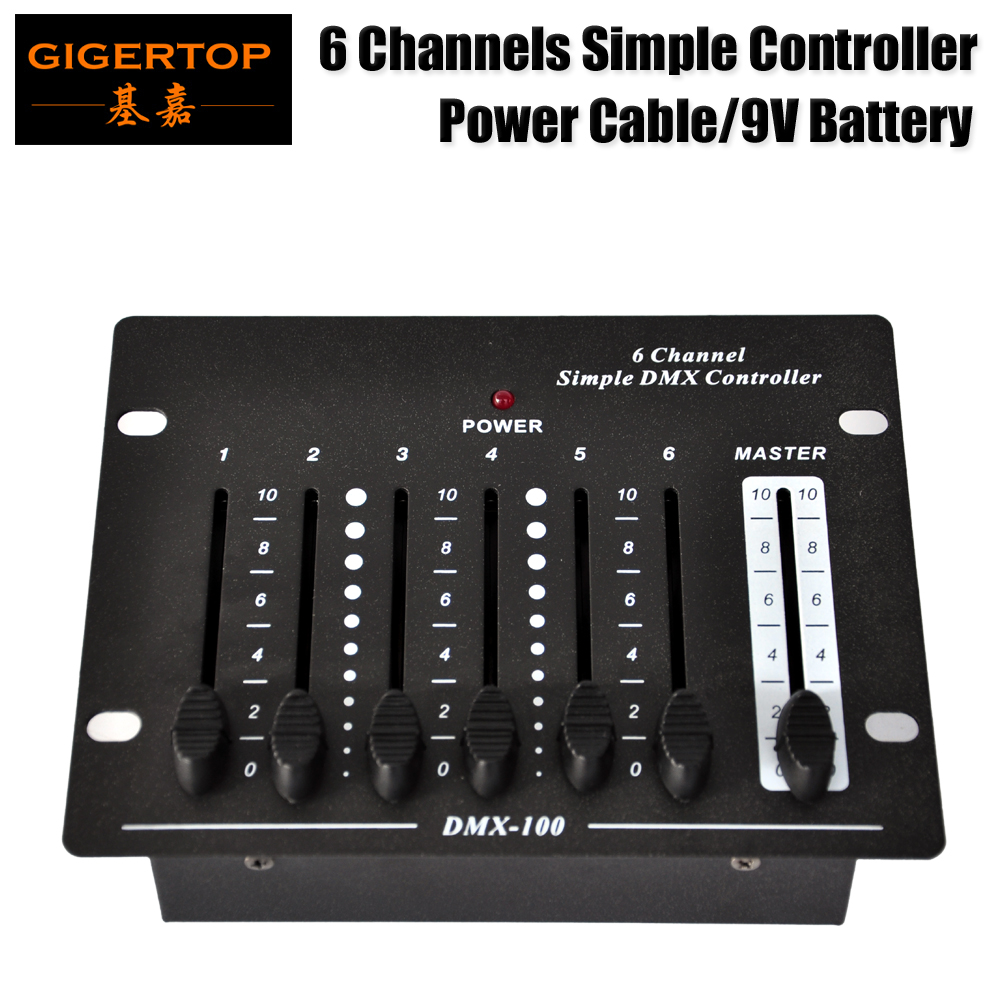 все цены на Gigertop TP-D1321 6 Channel Simple DMX Console Compact and Portable Device C9V Adapter Support Battery Working 6 Channel Console онлайн