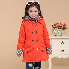 Girls Spring and Autumn Long Breasted Long Windbreaker Coat Thicken Kids Clothing Green Orange Cotton
