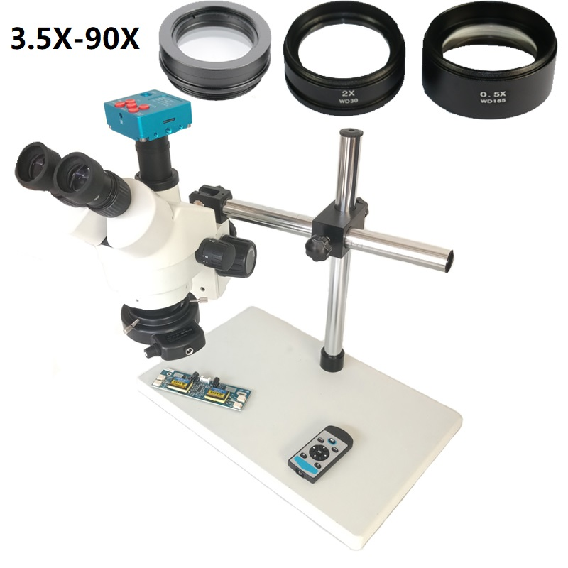 Ship From Russian 30MP HDMI Industrial Microscope Camera 3.5X-45X Trinocular Stereo Microscopio 2.0X Auxiliary Objective Lens