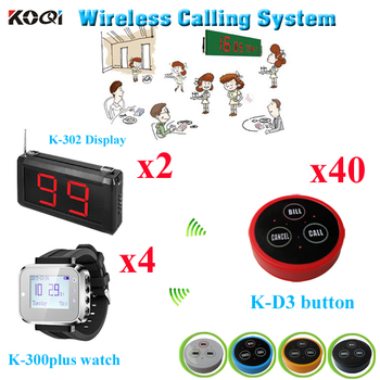 Pager Calling System Restaurant Table Paging For Hotel/Spa Room Use With CE 433.92mhz Ycall(2 display+ 4 watch+40 button