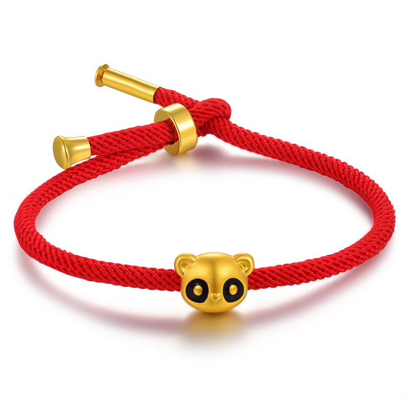 все цены на New Arrival Pure 24K Yellow Gold Panda Red String Weave Bracelet