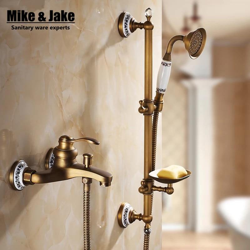 Bathroom Antique shower mixer set with shower bar bathtub mixer set with soap holder antique shower set