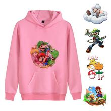 Hot Games Anime Super Mario Cool Cute Cartoon Printed Casual Unisex Fashion Fleecy Hooded Sweatshirt A193161(China)