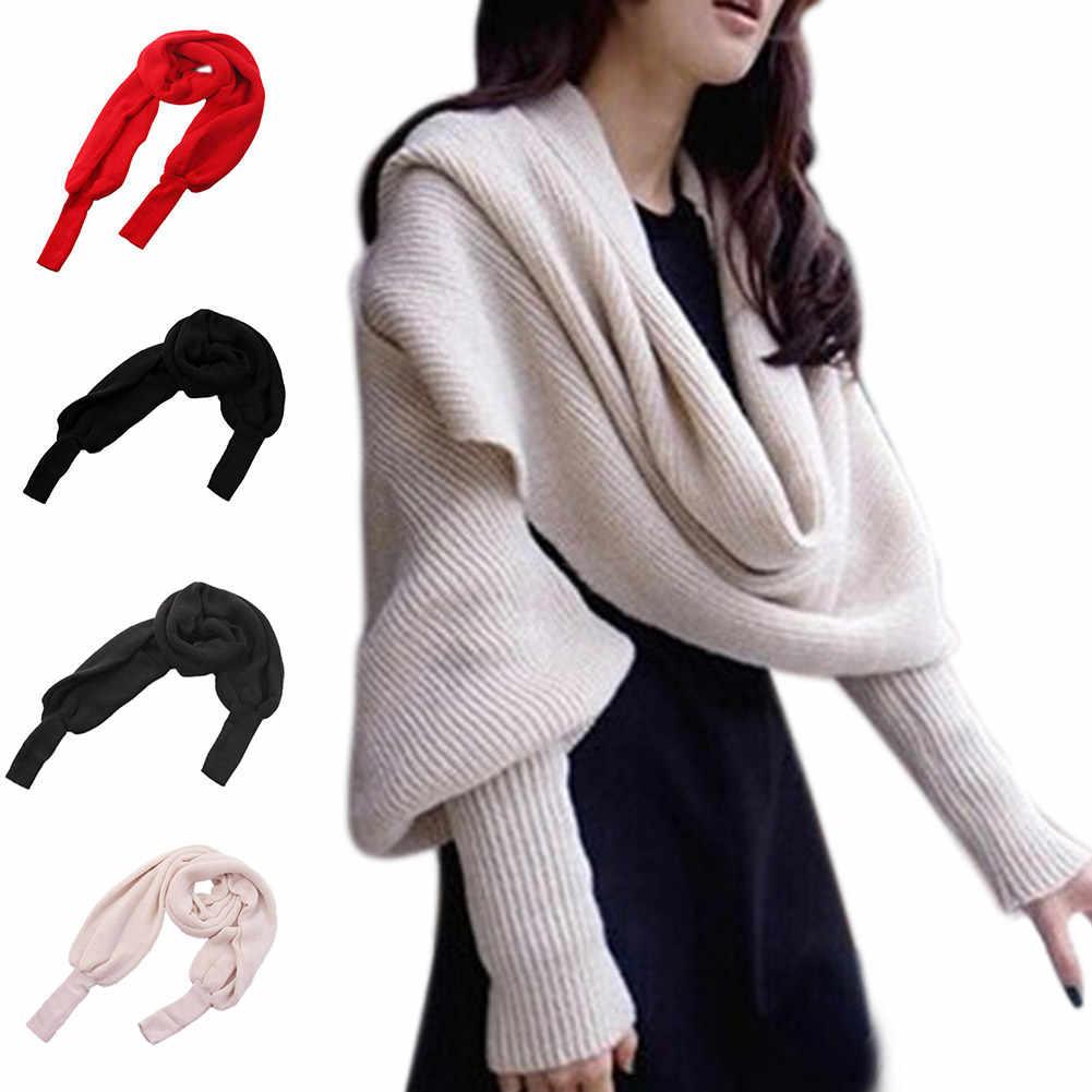 Модная Осенняя Женская Вязаная Шерстяная накидка, шаль, свободная зимняя теплая Женская вязанная кофта кардиган, шарф NFE99