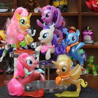 6pcs/set Twilight Sparkle Rainbow Dash Apple Jack Rarity Fluttershy Pinkie Pie Unicorn Fish Ponies Action Toy Figures Kids Toys