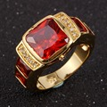 Wholesale Fashion Jewelry Fashion New Men's Fantastic Imitated Red Garnet Yellow Gold Filled Anniversary Ring R058YRG
