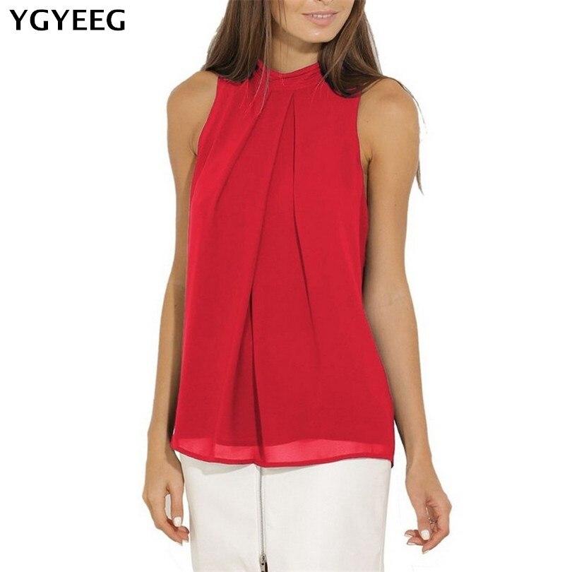 YGYEEG Womens Tops And   Blouses   Sleeveless Feminine   Blouse     Shirt   Ladies Top Female O-Neck Summer Tops For Women Chiffon Tops XXXL