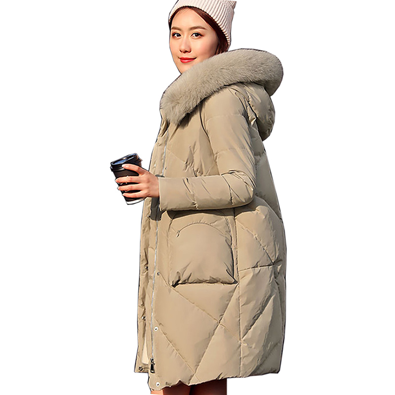 high quality jacket Long Women White Duck   Down     Coats   2018 Winter New Loose Warm Women Clothes Fox Large Fur Collar   Down     Coats