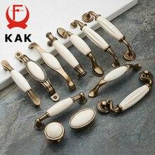 KAK Antique Bronze Ceramic White Cabinet Handles Zinc Alloy Drawer knobs Wardrobe Door Handle Simple European Furniture Hardware