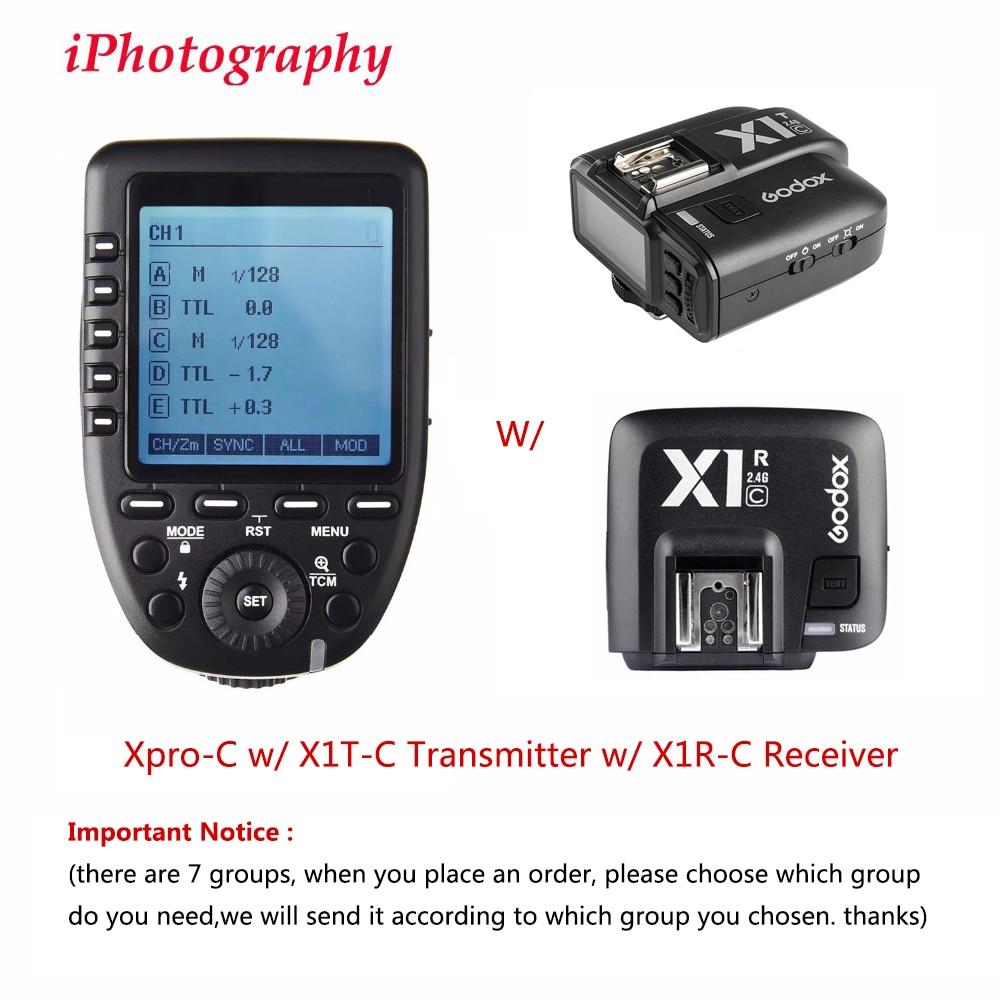 Godox Xpro C TTL Wireless Flash Trigger Transmitter w X1R C TTL Wireless Flash Trigger Receiver