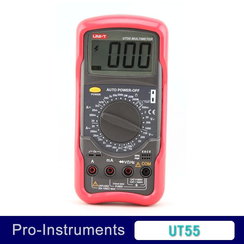 UNI-T UT55 Digital Multimeter 1000V 20A DMM AC DC Voltmeter Resistance Diode Temperature test Palmsize Max Holster victor vc97 auto range dmm ac dc voltmeter capacitance resistance digital multimeter vs fluke15b