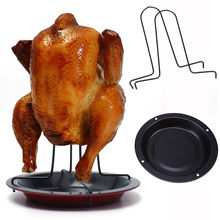 WCIC Chicken Holder Pan Upright Beer Roaster Rack Silver Baking Pan Grilled Roast Rack For Outdoor Camping BBQ