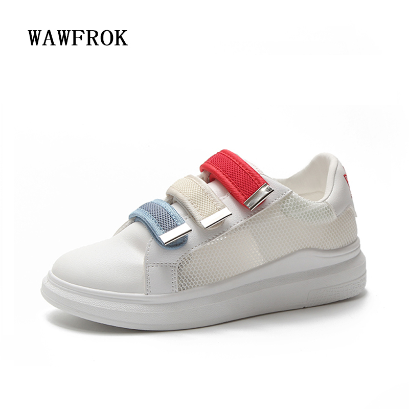 Women Casual Shoes 2018 Spring Summer Leather Shoes Woman Flats Platform White Fashion Breathable Hollow Women Sneakers