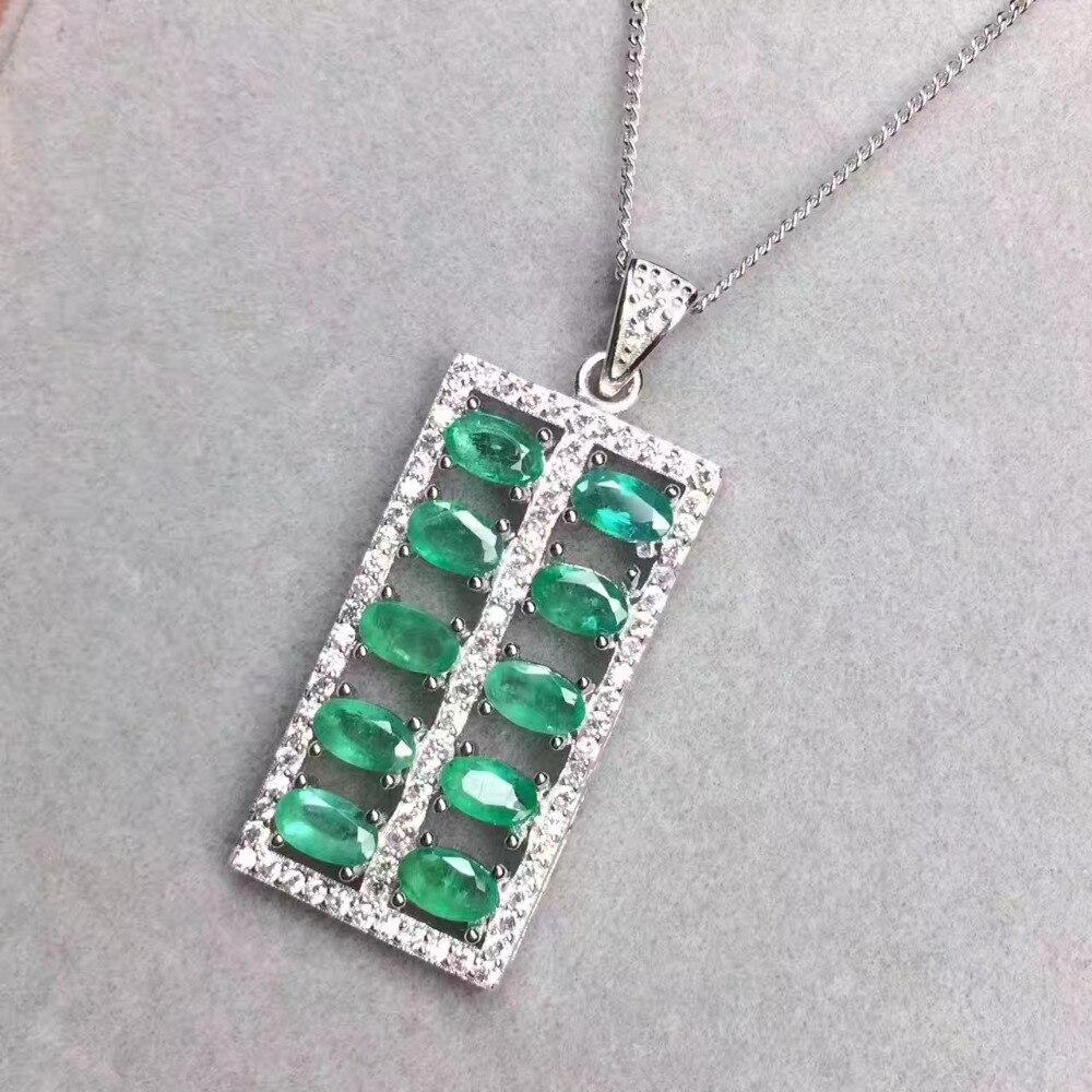 Pendentif émeraude vert naturel pierre gemme naturelle style chinois Fortune abacus pendentif 925 argent sterling femmes bijoux de fête