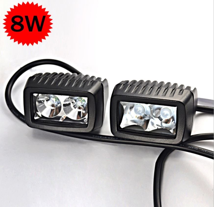 2pcs cree 8w led spot flood autos lights 12v 24v car motorcycle truck diy styling aux headlights. Black Bedroom Furniture Sets. Home Design Ideas