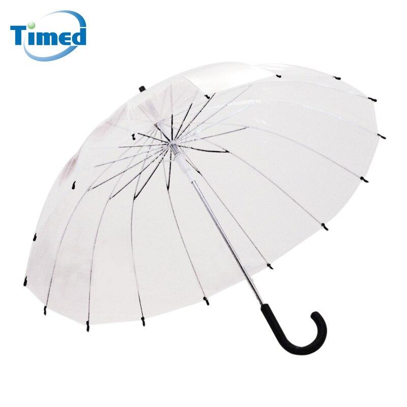 Новый 16 ребра прозрачный Зонты Высокое качество дождь-ручка прямой зонт-трость мужской женский дождливый Большие твердые Paraguas
